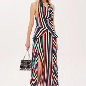 Topshop Multicolor Rainbow Stripe Maxi Dress NWOT